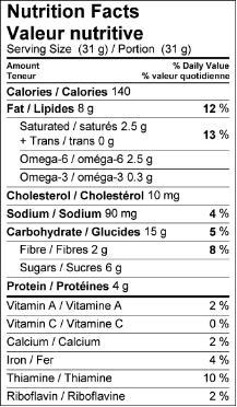 Breakfastcookie nutritioninfo